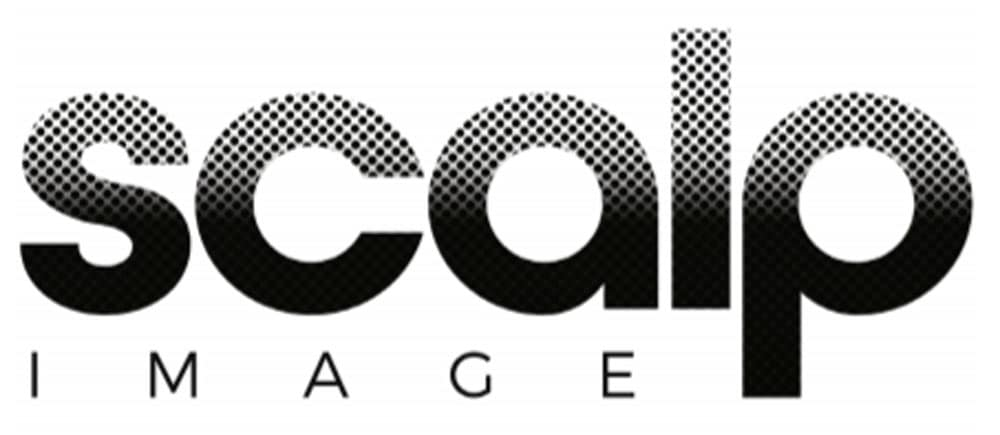 Scalp image logo. The word scalp is in bold black font but the top of the letters fade up into dots. The word image is beneath scalp.